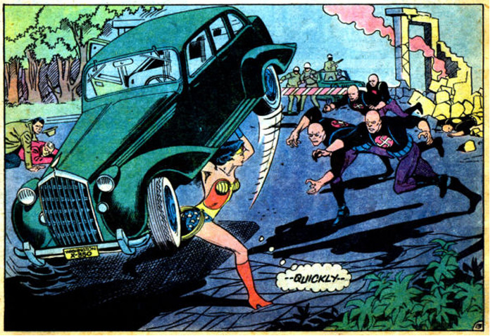 Wonder Woman smashes a car